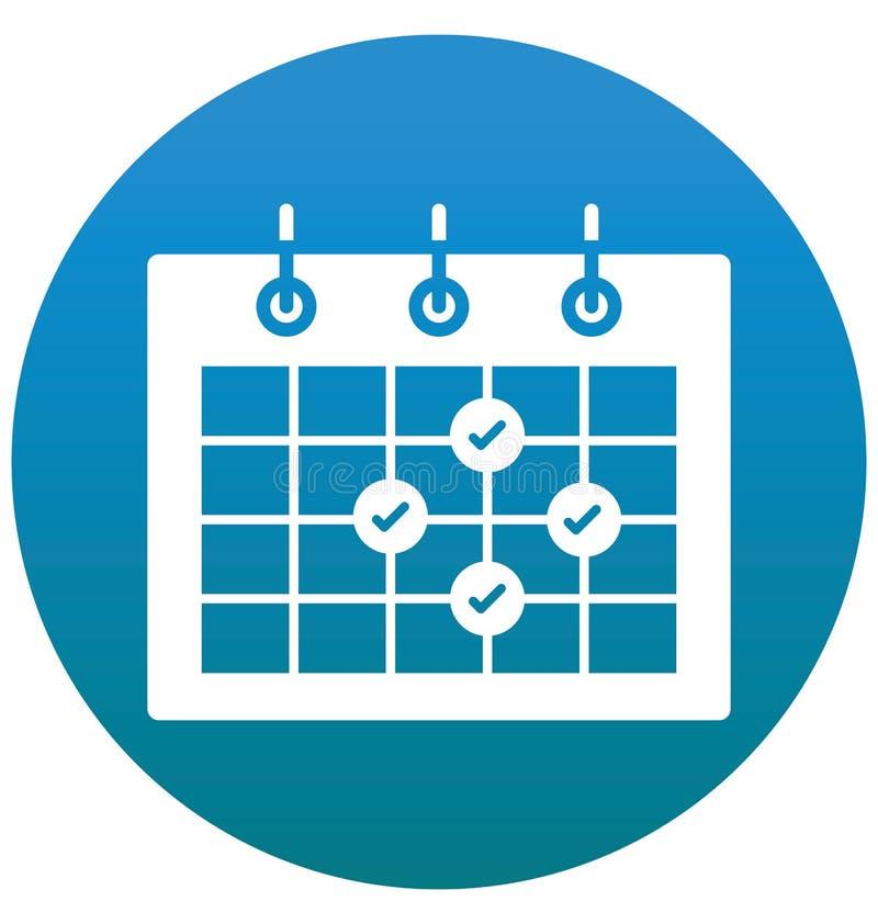 La cita, calendario, icono aislado evento del vector puede estar fácilmente corrige y se modifica ilustración del vector