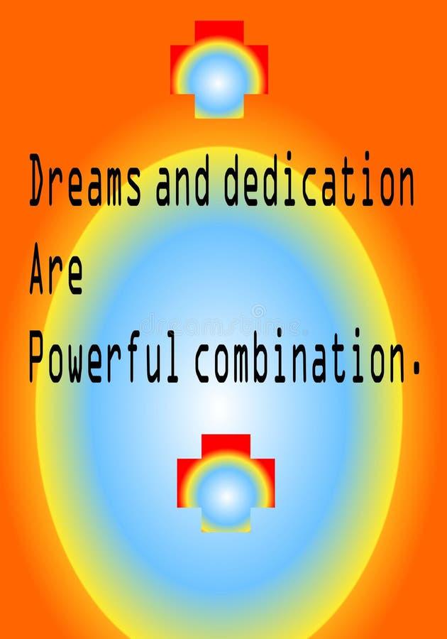 La cita de la motivación sueña y el esmero es combinación potente libre illustration