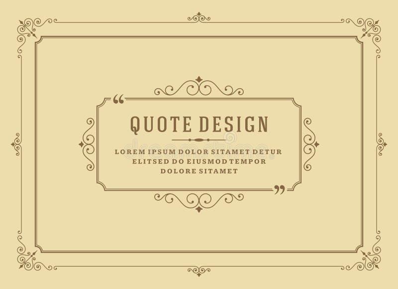 La cita del ornamento del vintage marca vector del marco de caja stock de ilustración