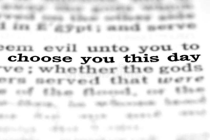 La citation d'écriture sainte choisissent ce jour image stock