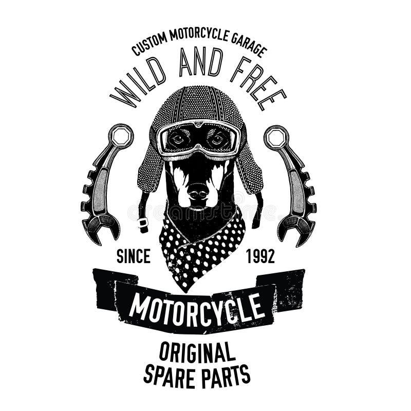 La citation de cycliste avec le chien pour le garage, service, T-shirt, pièces de rechange dirigent l'image illustration libre de droits
