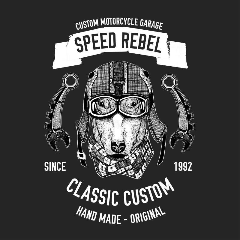 La citation de cycliste avec le chien pour le garage, service, T-shirt, pièces de rechange dirigent l'image illustration stock