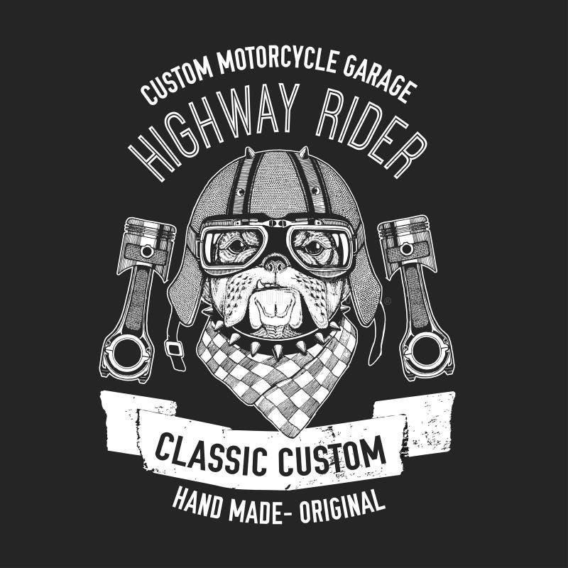 La citation de cycliste avec le chien pour le garage, service, T-shirt, pièces de rechange dirigent l'image illustration de vecteur