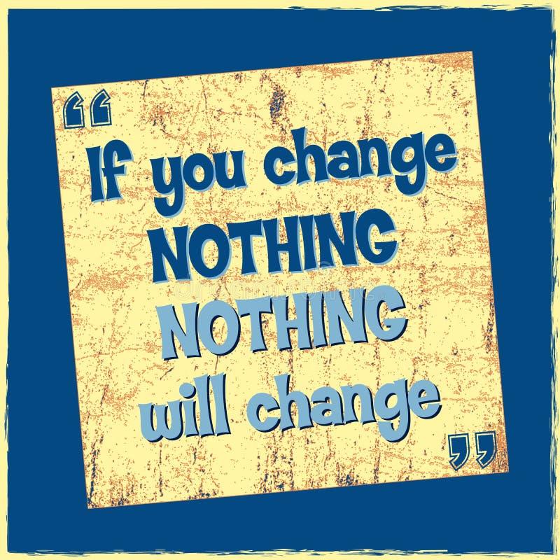 La citation de inspiration de motivation si vous ne changez rien rien changera l'affiche de vecteur illustration libre de droits