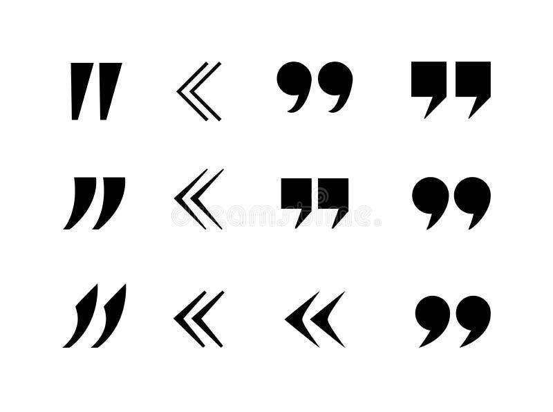 La citation de vecteur marque la collection, virgules, fond noir d'icônes illustration de vecteur