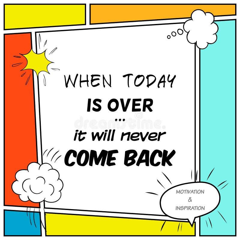 La citation inspirée et de motivation est dessinée dans un style comique illustration stock