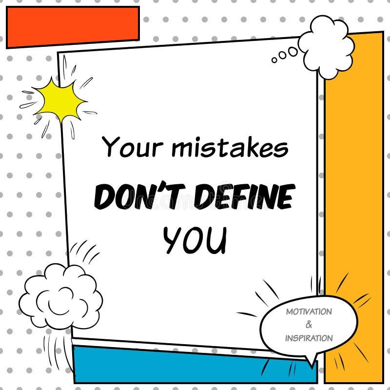 La citation inspirée et de motivation est dessinée dans un style comique illustration libre de droits