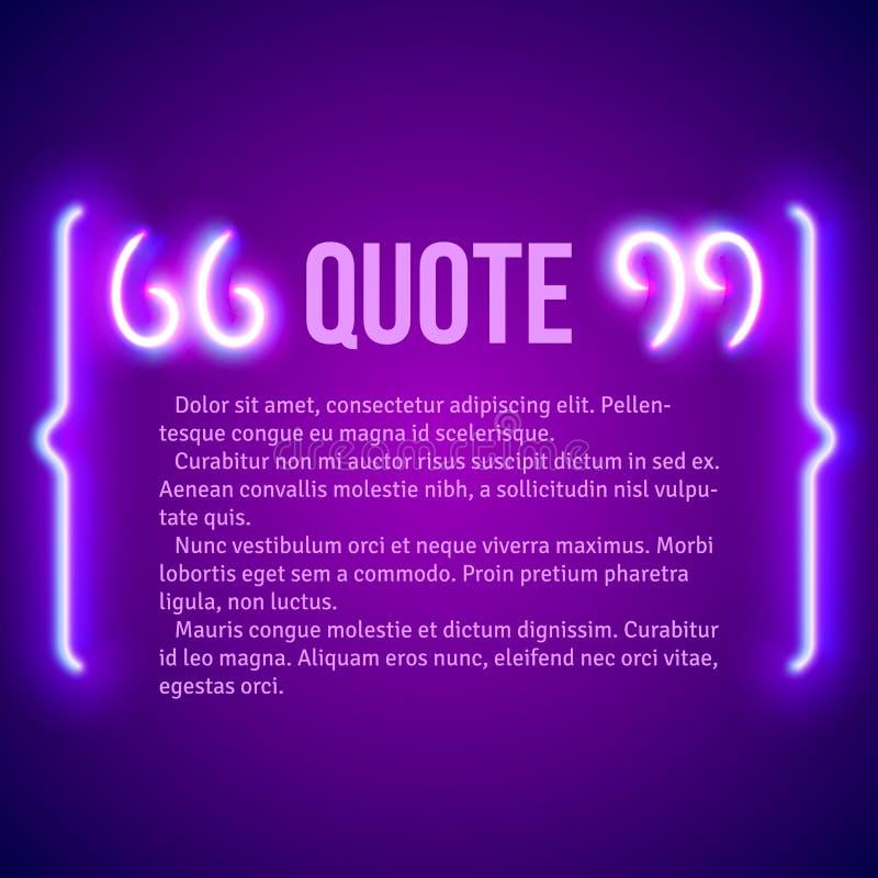 La citation rougeoyante de rétro néon marque le cadre illustration stock