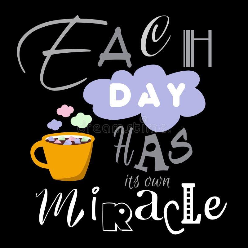 La citazione d'affermazione di vita positiva ha legato con una tazza di caffè con le caramelle gommosa e molle illustrazione vettoriale