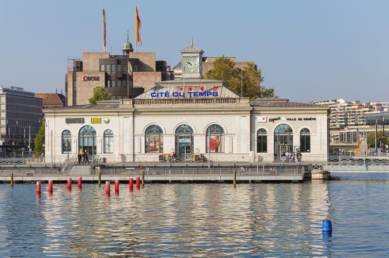 La Citera du Arbeta tillfälligt byggnad i staden av Genève, Schweiz royaltyfri foto