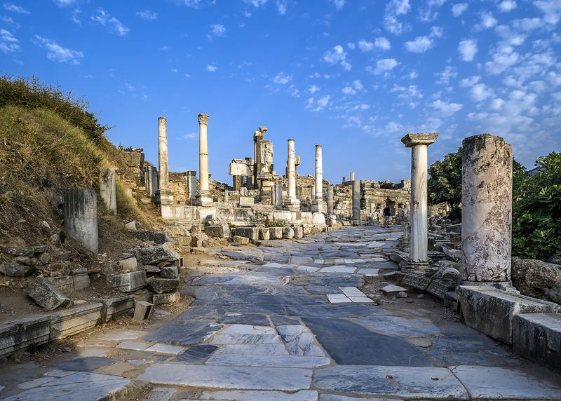 la città antica del ephesus Vista alla parte amministrativa superiore della città fotografia stock