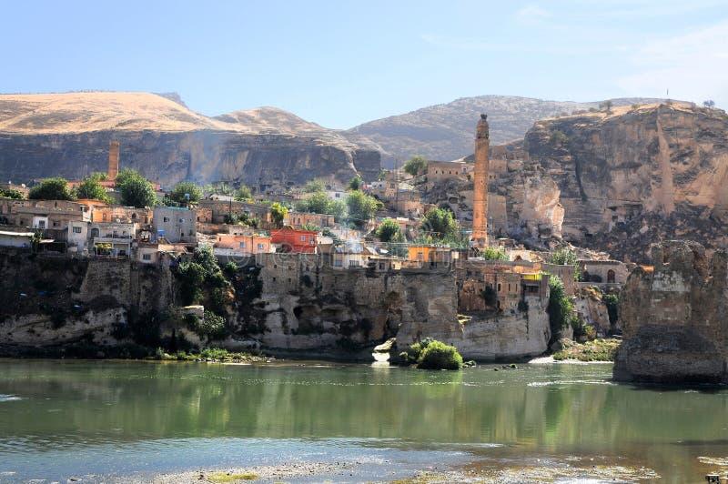 La città antica di Hasankeyf nell'Anatolia fotografia stock