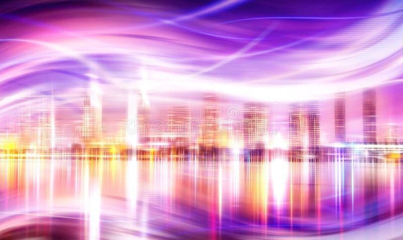 La città astratta illumina la priorità bassa illustrazione vettoriale