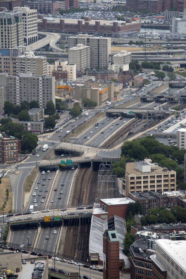 La città Boston ha visto dai grattacieli immagine stock libera da diritti