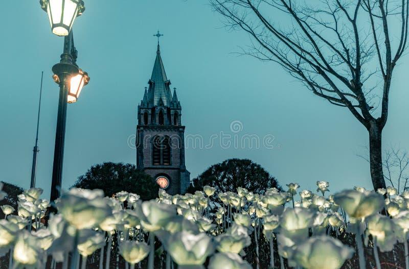 La città calma di Myeongdong fotografia stock