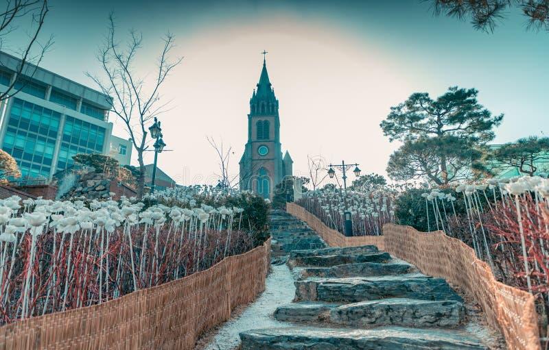 La città calma di Myeongdong immagine stock libera da diritti
