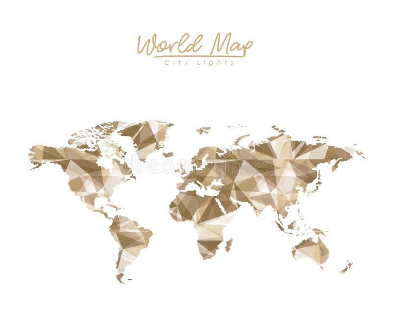 La città della mappa di mondo si accende nella siluetta marrone chiaro del poligono illustrazione vettoriale