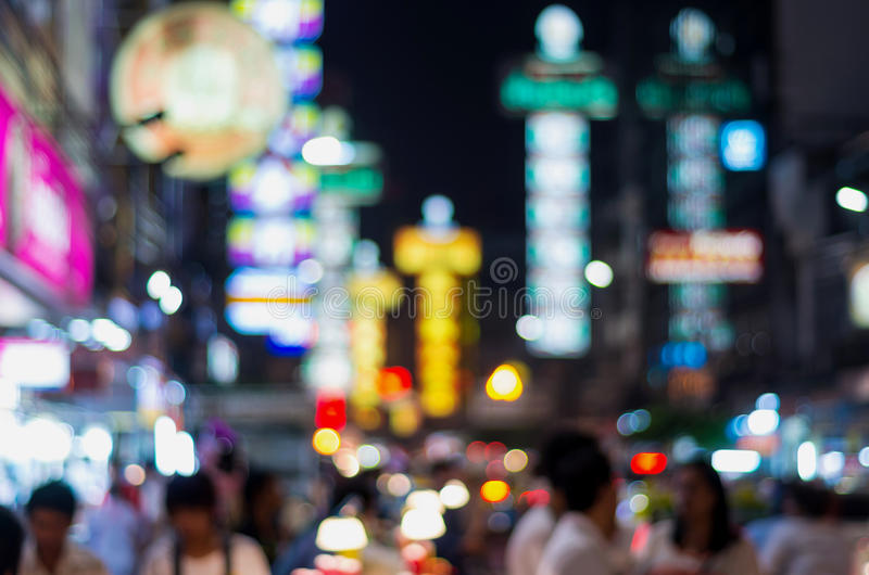 La città della porcellana alla notte, bokeh vago della foto fotografia stock