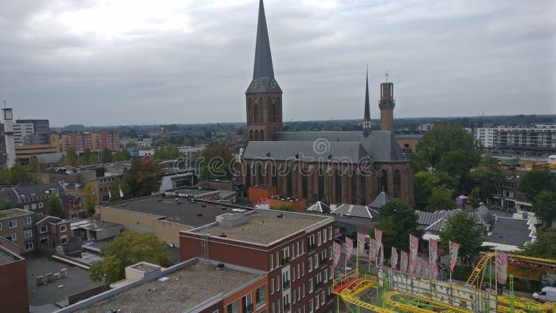 La città di Hengelo come visto da una ruota leggiadramente durante la fiera immagine stock