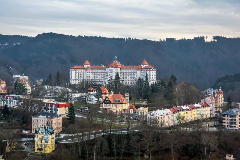 La città di Karlovy Vary, repubblica Ceca fotografia stock libera da diritti