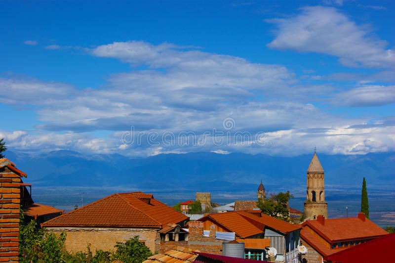 La città di Sighnaghi, Georgia fotografia stock libera da diritti
