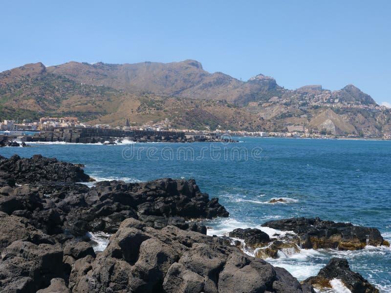 La città di Taormina in Sicilia Italia fotografia stock