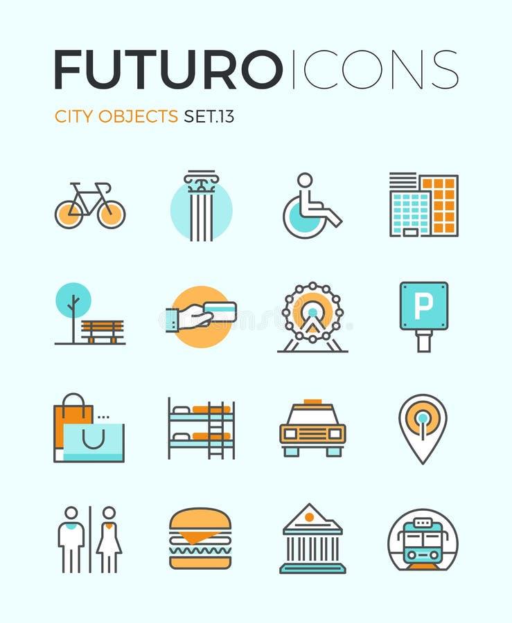 La città obietta la linea icone di futuro royalty illustrazione gratis