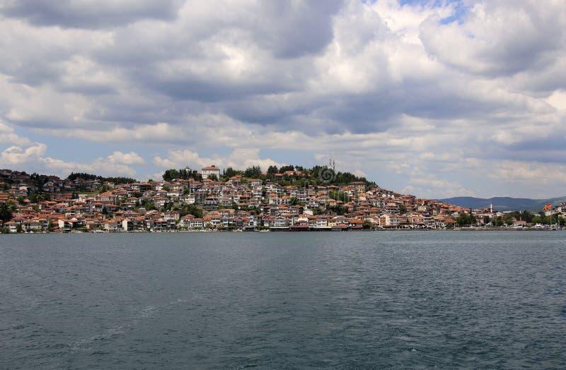 La città Ocrida, eredità di bella vista dell'Unesco ha elencato, la Repubblica della Macedonia del nord fotografia stock
