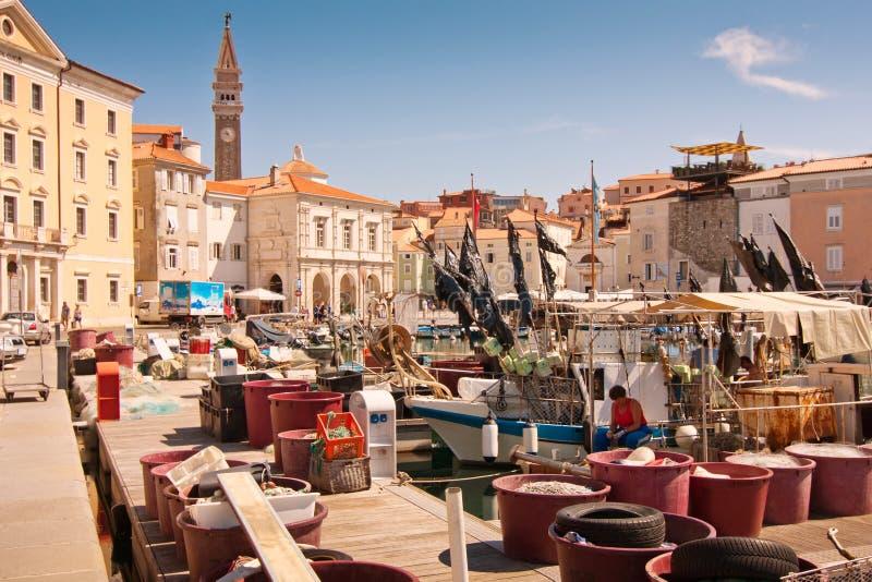 La città Piran fotografie stock libere da diritti