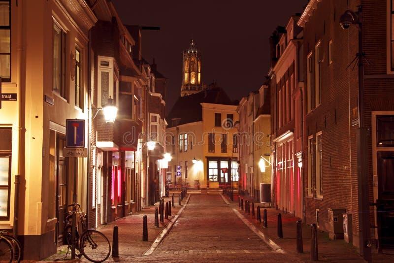 La città scenica da Utrecht nei Paesi Bassi con i DOM si eleva immagine stock libera da diritti