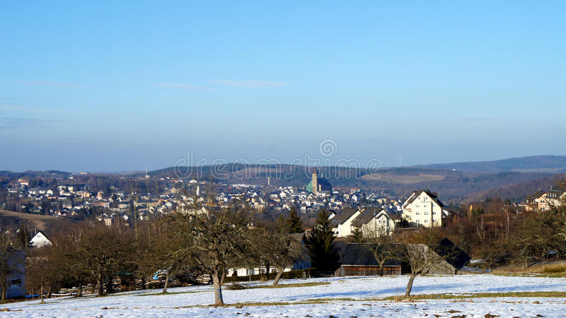 La città Schneeberg della montagna in Germania fotografia stock libera da diritti