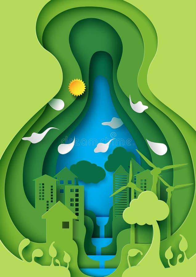 La città urbana amichevole di Eco nello strato verde della carta della foglia ha tagliato la n astratta illustrazione vettoriale