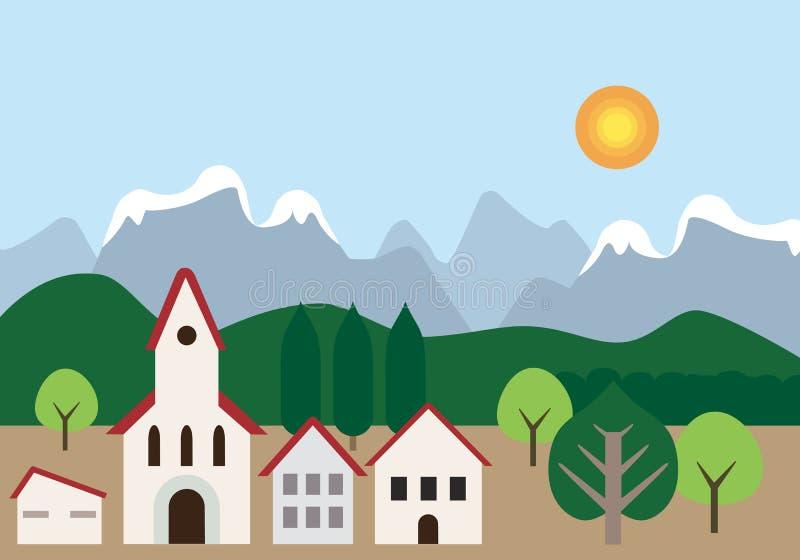 La cittadina con la chiesa e le case si avvicinano alla foresta, alle colline e al mountai illustrazione vettoriale