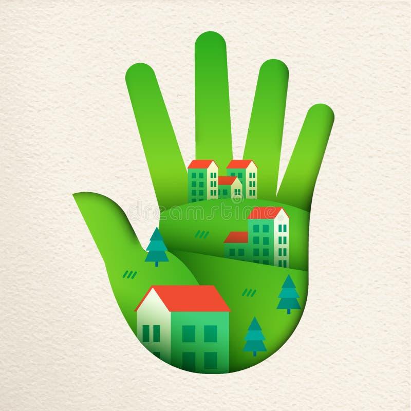 La ciudad amistosa de Eco en Libro Verde cortó la mano ilustración del vector