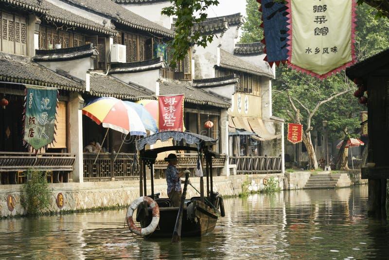 La ciudad antigua de Nanxun, Huzhou, Zhejiang, China Barco, arquitectura imagen de archivo libre de regalías