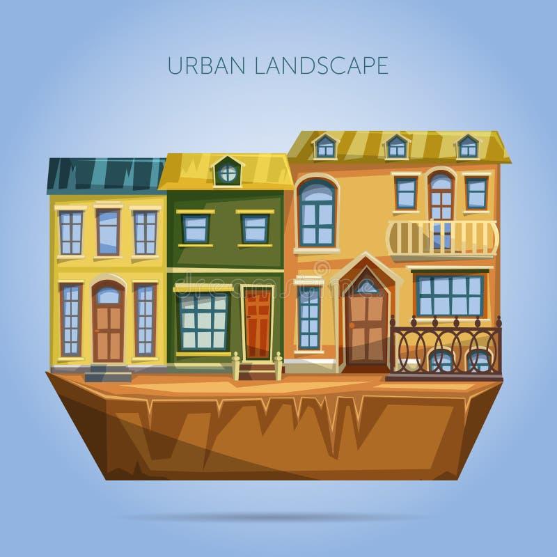 La ciudad contiene fachadas Paisaje urbano del diseño plano ilustración del vector
