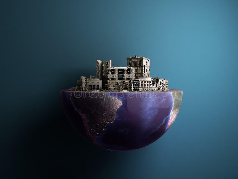La ciudad de la apocalipsis por la mitad del concepto 3d de la apocalipsis del culo del planeta ren libre illustration