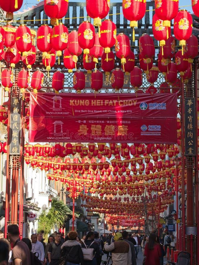 La ciudad de China en Londres adornó con las linternas rojas chinas por el Año Nuevo chino imagen de archivo