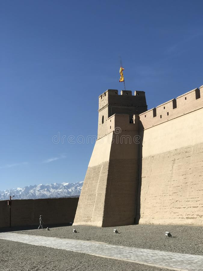 La ciudad de jiayuguan de la Gran Muralla imagen de archivo libre de regalías