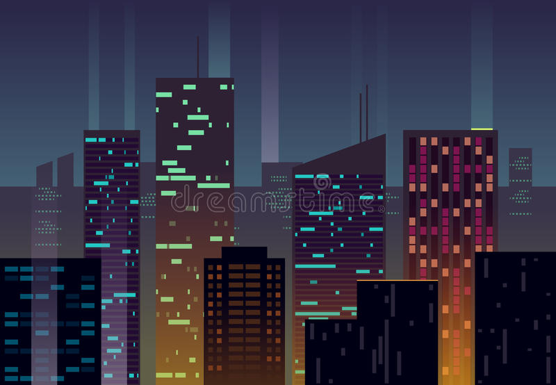 La ciudad de la noche, edificios con las ventanas que brillan intensamente en la oscuridad vector el fondo urbano stock de ilustración