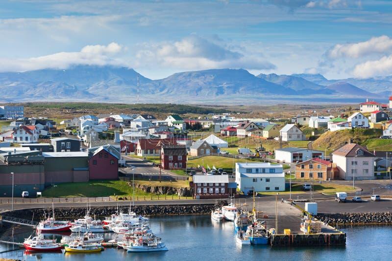 La ciudad de Stykkisholmur, la parte occidental de Islandia fotografía de archivo libre de regalías