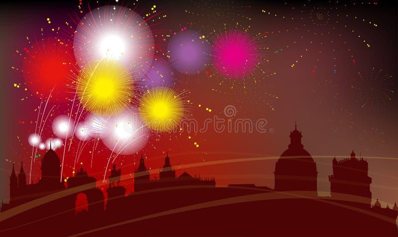 La ciudad, los fuegos artificiales y la celebración de Lisboa libre illustration