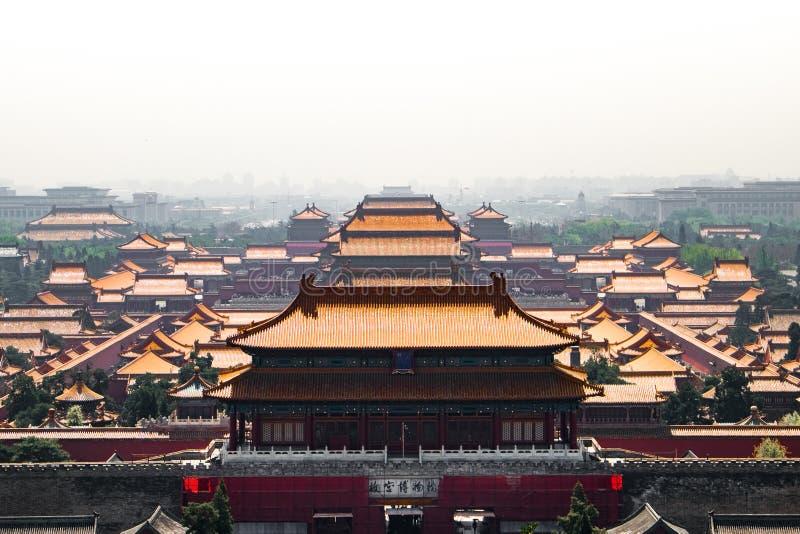 La ciudad Prohibida de Bejing desde arriba foto de archivo