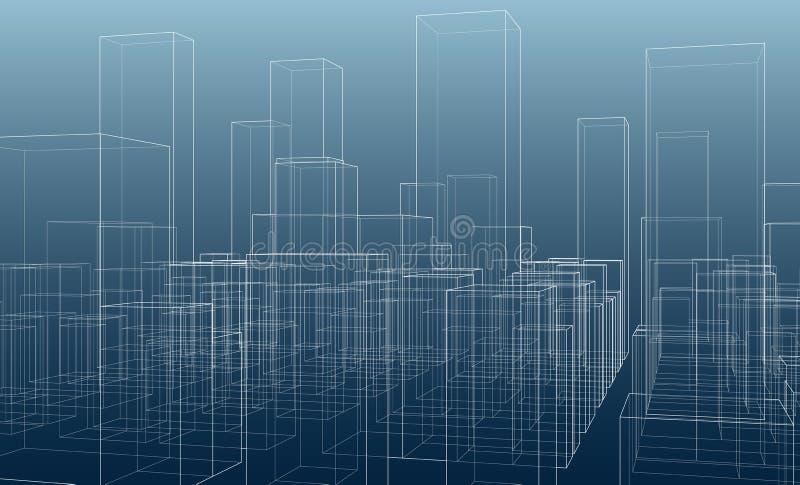 La ciudad siluetea vector del esquema en fondo azul libre illustration