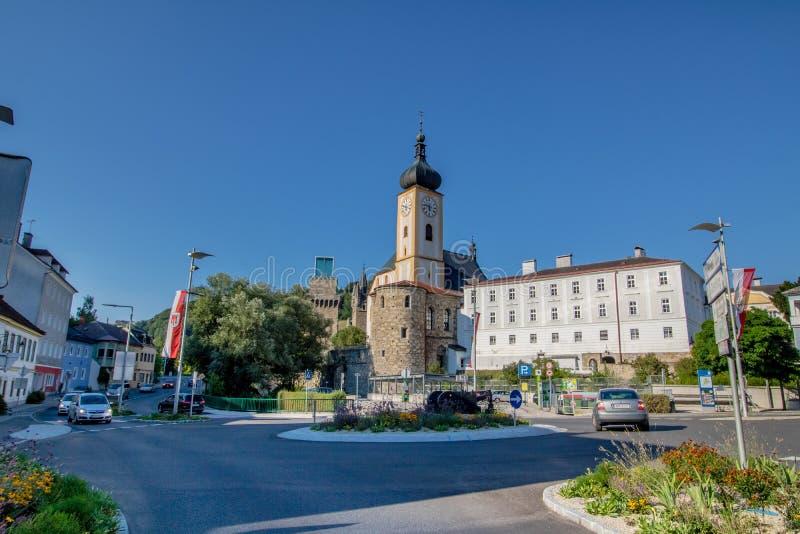 La ciudad vieja de Waidhofen un der Ybbs en verano, Mostviertel, una Austria más baja, Austria imagen de archivo libre de regalías