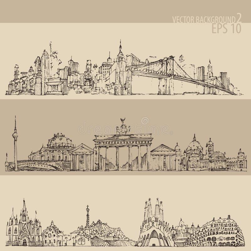 La ciudad vintage de Nueva York determinada, Berlín, Barcelona grabó el ejemplo stock de ilustración