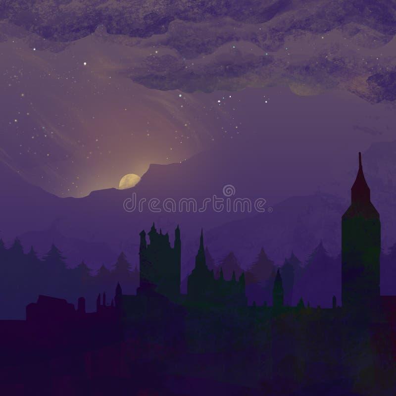 La ciudad y el amanecer stock de ilustración