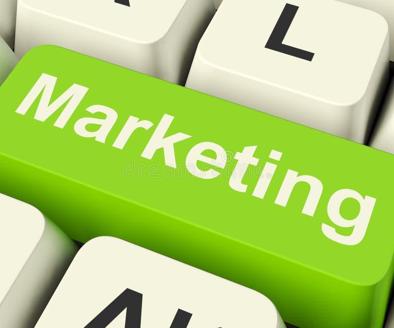 La clé de marketing en ligne peut être media social et Emai de sites Web de blogs image libre de droits
