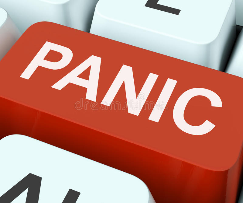 La clé de panique montre la terreur ou la détresse paniquée images stock