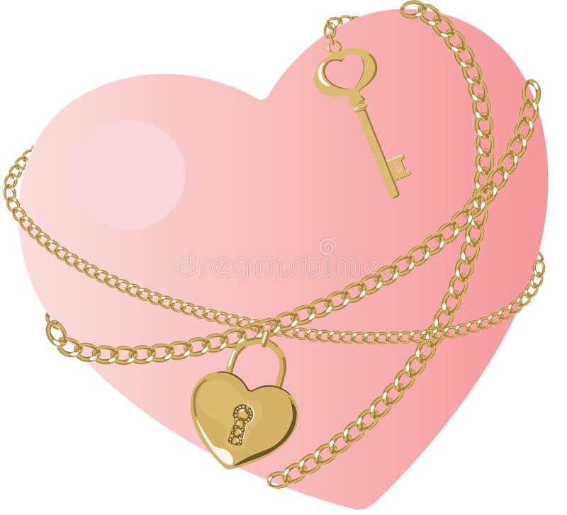 La clé du coeur illustration stock